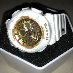 Baby G shock watch white with leopard face